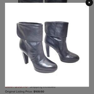 Via Spiga black leather mid calf boots